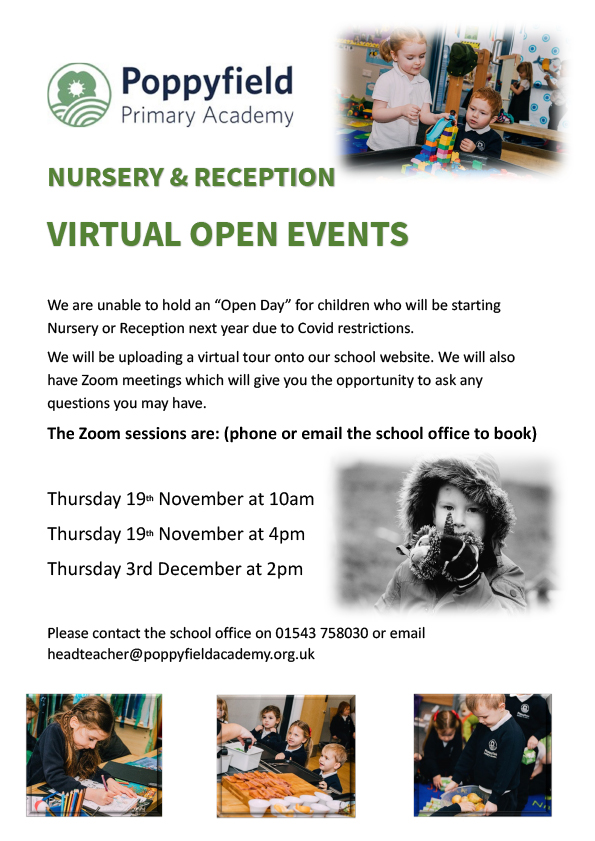 Poppyfield Primary Academy Virtual Open Events